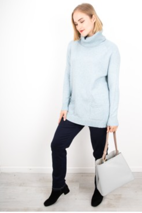 ANNA POLO NECK JUMPER - SEA FOAM