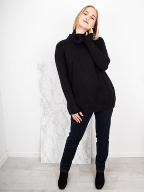 ANNA POLO NECK JUMPER - BLACK