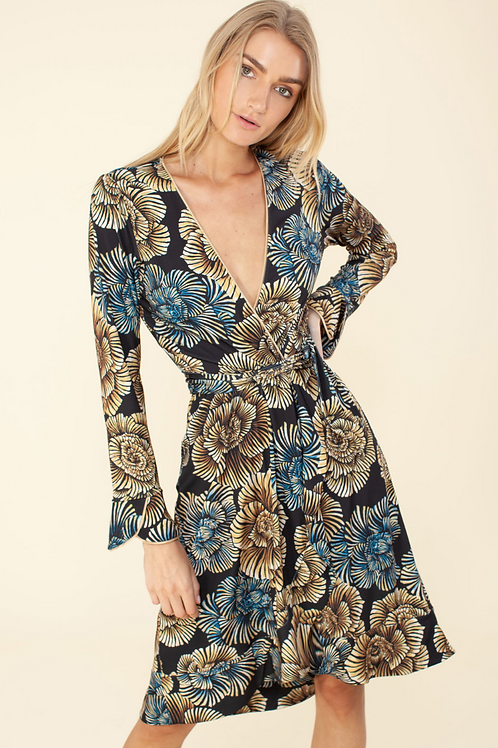 VICTORIA JERSEY FAUX-WRAP DRESS