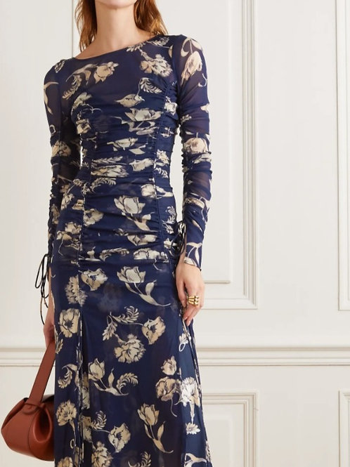 DVF RUCHED FLORAL STRETCH MESH DRESS
