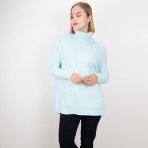 ANNA POLO NECK JUMPER - POWDER BLUE