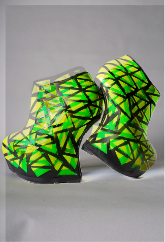 Geometric Heels, Lime Green