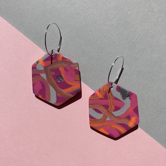 Pink Wiggles Hexagon Earrings