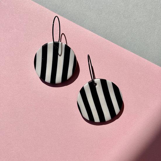 Black and White Stripe Medium Disc Earrings