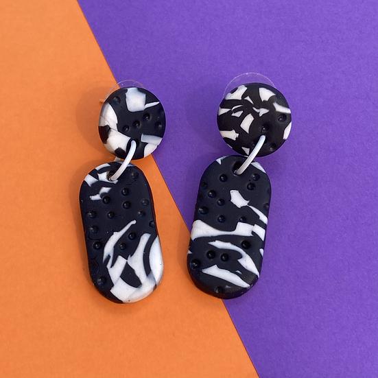 Monochrome Lozenge Drop Earrings