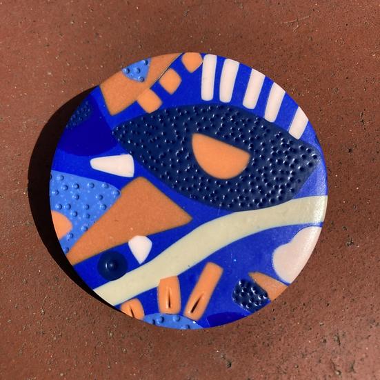 Festival in Blue Disc Brooch