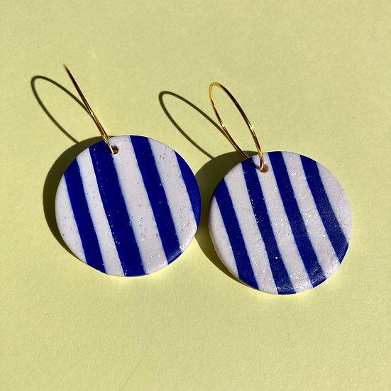 Blue and White Stripe Medium Disc Earrings