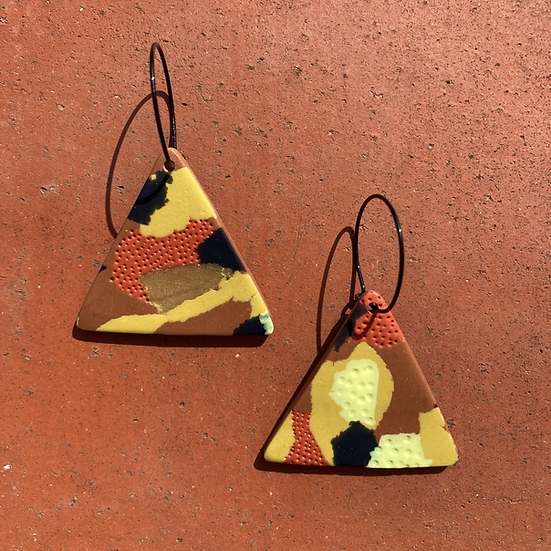 Warm Nights Triangle Hoop Earrings