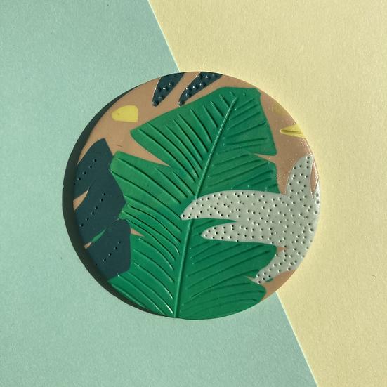 Tropical Leaf Disc Brooch