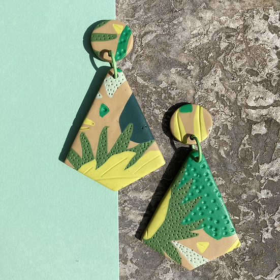 Tropical Leaf Diamond Drop Earrings