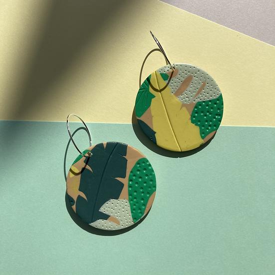 Tropical Leaf Disc Earrings