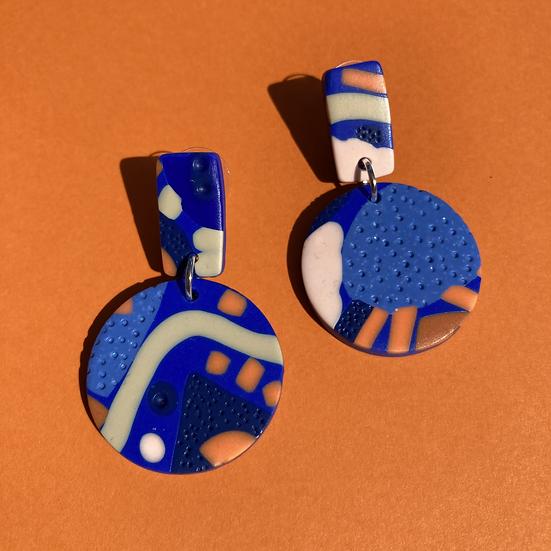 Festival in Blue Medium Disc Earrings
