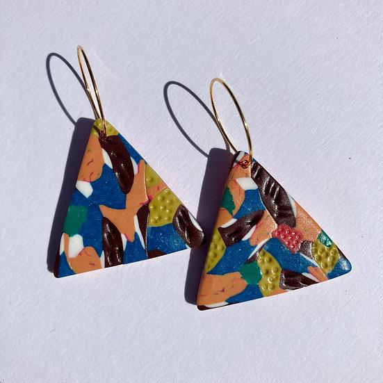 Floral Camo Triangle Hoop Earrings