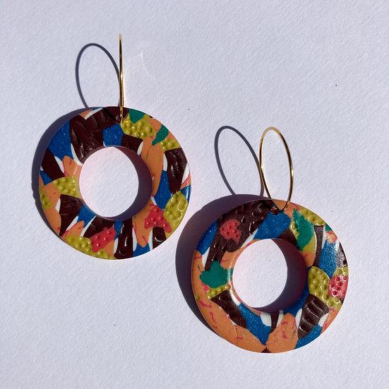 Floral Camo Donut Hoop Earrings