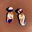 Thumbnail: 80s Lozenge Drop Earrings - Orange