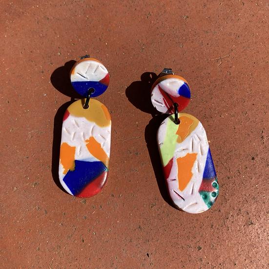 80s Lozenge Drop Earrings - Orange