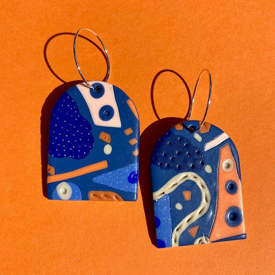 Festival in Blue Arch Earrings