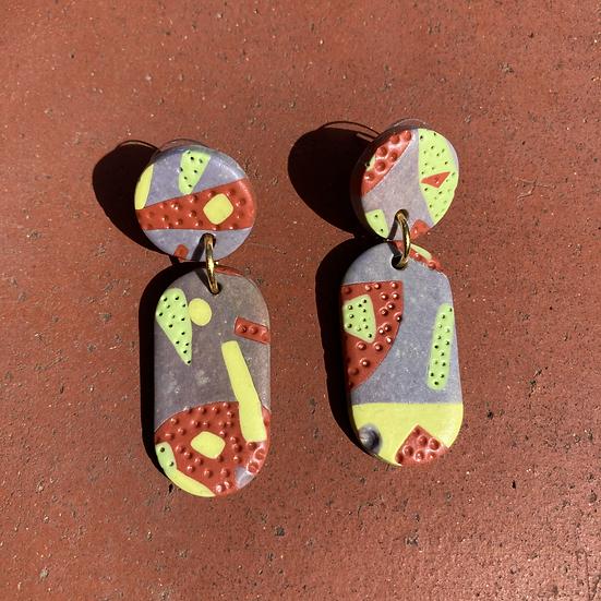 Shapes of Grey Lozenge Drop Earrings