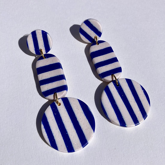 Blue and White Stripe Disc & Lozenge Earrings