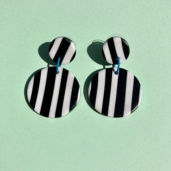 Black and White Stripe Disc Earrings