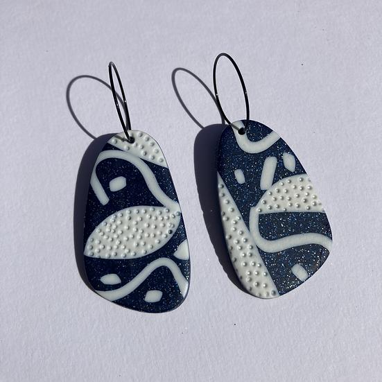 Glitter Blue and White Hoop Earrings