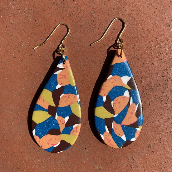 Floral Camo Large Drop Earrings