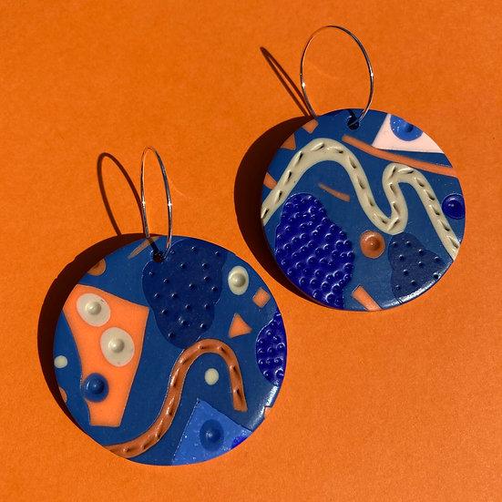 Festival in Blue Disc Earrings