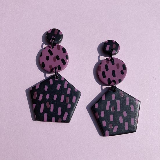 Purple Dashes Pentagon Drop Earrings