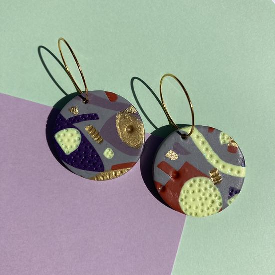 Shapes of Grey Medium Disc Earrings