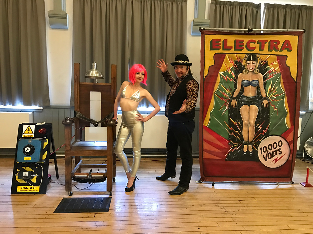 Miss Electra & Dr Diablo present the electric chair