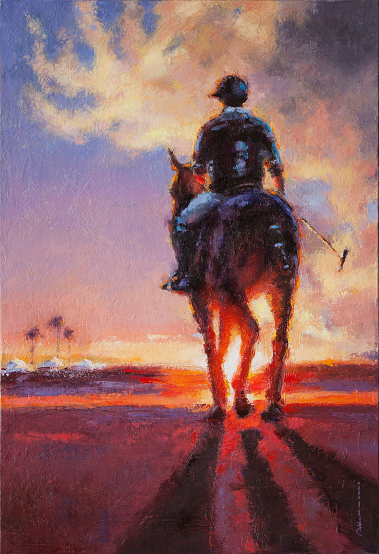 POLO. PLAYER AT SUNSET. 73x50 cm