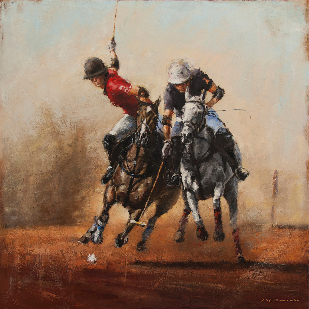 POLO. TWO PLAYERS IN ACTION. 80x80 cm