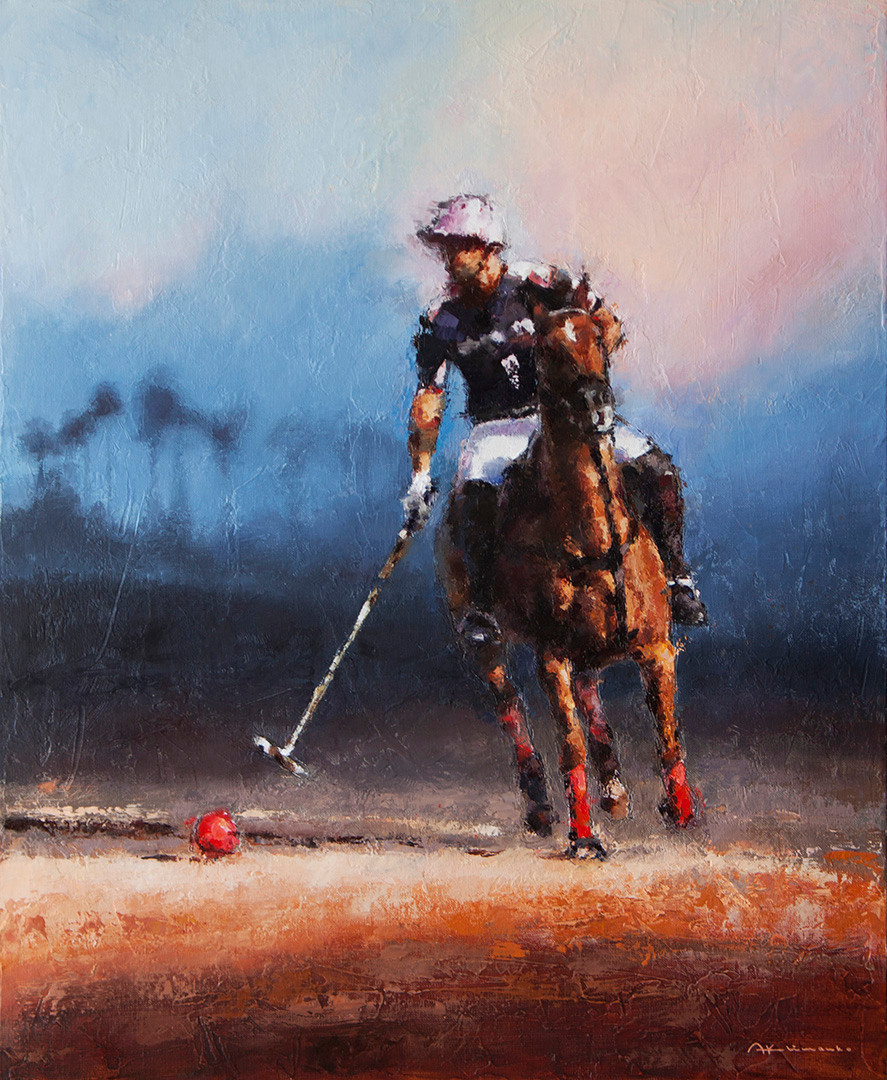 POLO. INSTANT BEFORE THE ATTACK. 73x60