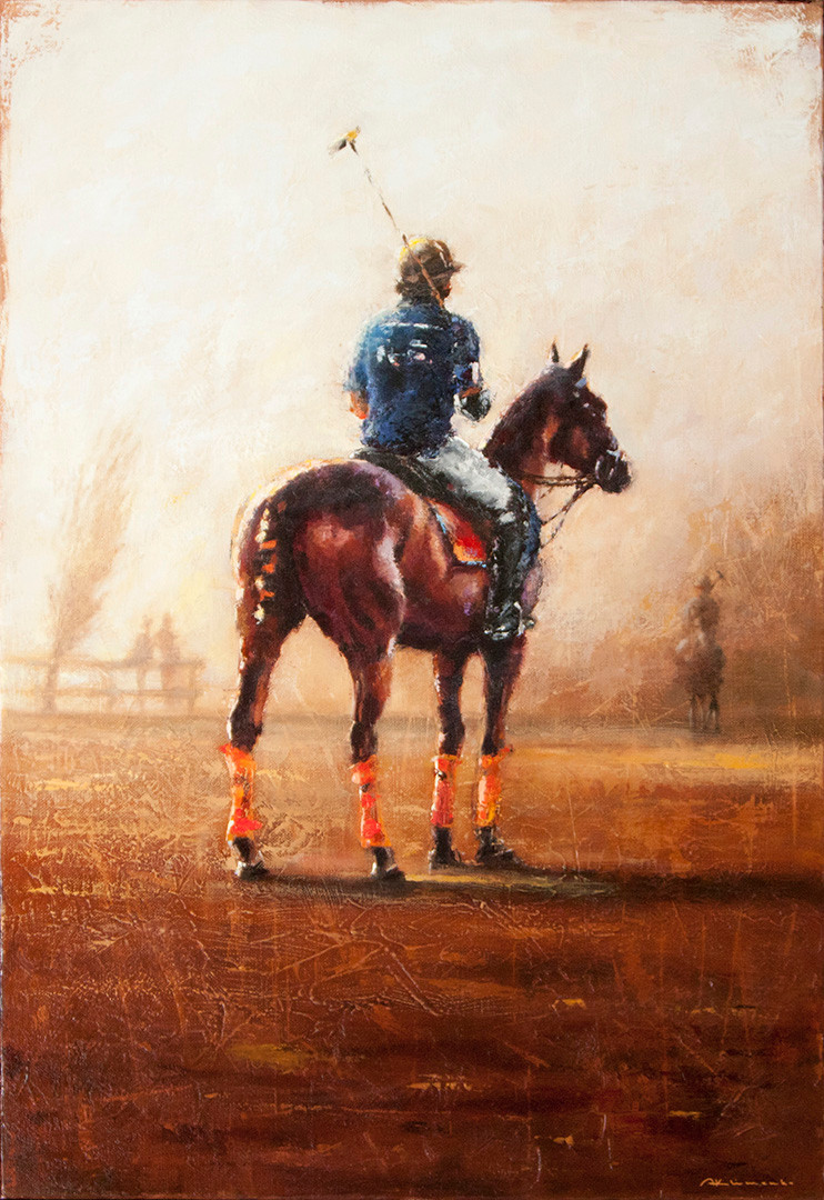 POLO. PLAYER GETTING READY. 73x50 cm