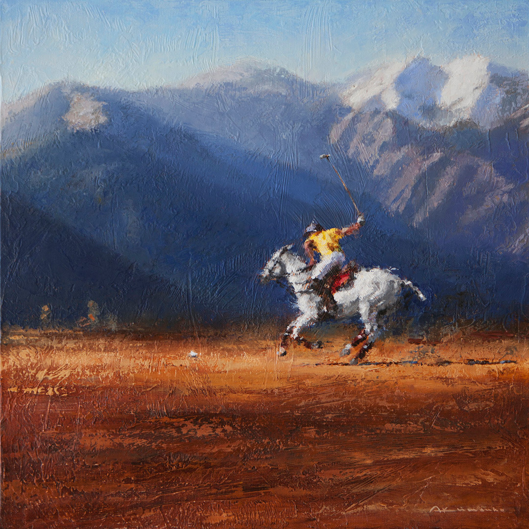 POLO. PLAYER IN ACTION. 50x50 cm