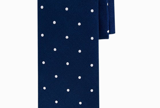 Синий шелковый галстук в горошек