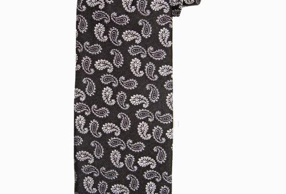 Черный узкий шелковый галстук с узором пейсли
