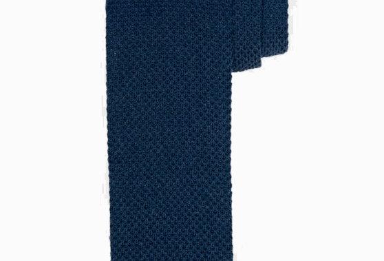 Темно-синий вязаный шерстяной галстук