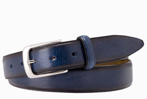 Темно-синий кожаный ремень