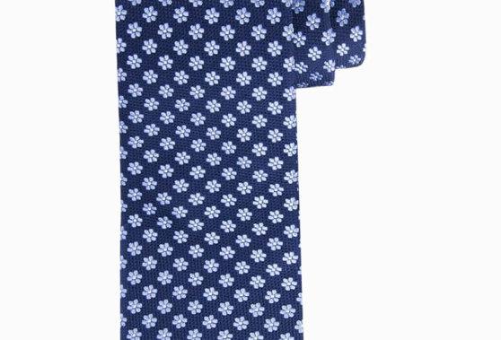 Синий классический цветочный шелковый галстук