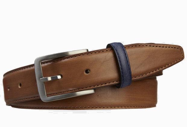 Коньячный кожаный ремень