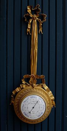 Pair of Bronze Barometer Clock