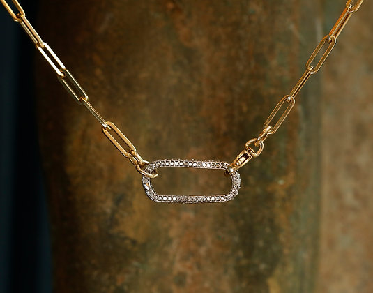 14K Gold English Chain / Lupe with Diamonds