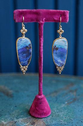 Lapis Lazuli Natural cut Stones 18K Gold Earrings