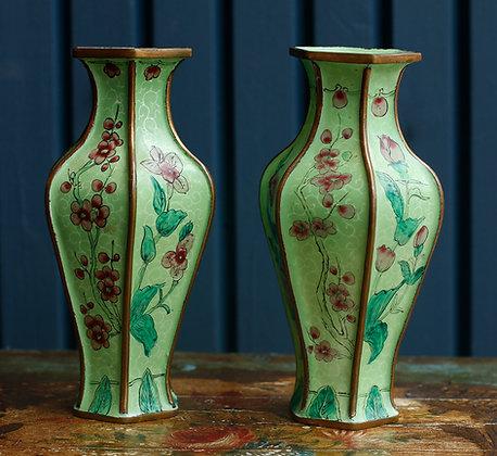Pair of Small Enamel Vases