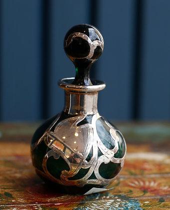 Sterling Ovelaid Small Green Perfume Bottle