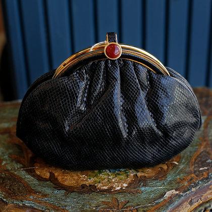 Judith Leiber Black Lizard Skin Bag