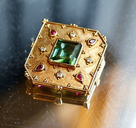 Vintage 18K Gold pin with Rubies Diamonds and Center Stone Tourmaline