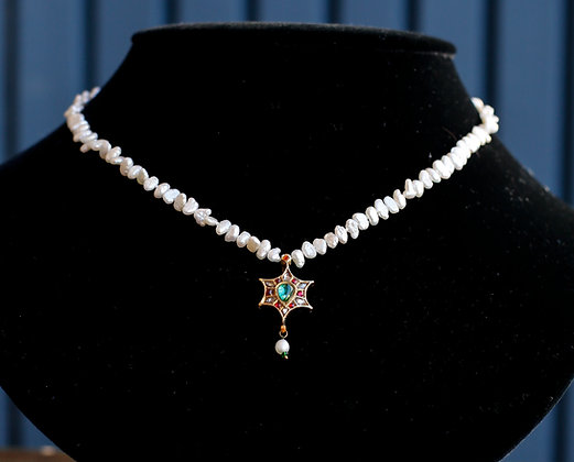 Pearl Necklace with Star Gold Pendant with Tourmaline, Rubies and  Diamonds