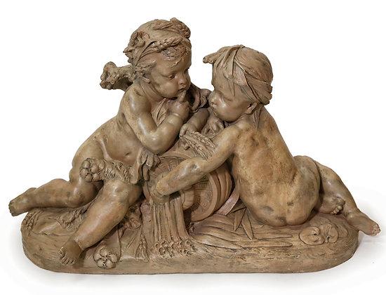 19th Century Terracotta Putti Sculpture, Albert-Ernest Carrier-Belleuse, France
